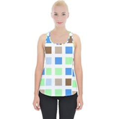 Colorful Green Background Tile Pattern Piece Up Tank Top