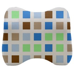 Colorful Green Background Tile Pattern Velour Head Support Cushion by Jojostore