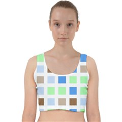 Colorful Green Background Tile Pattern Velvet Racer Back Crop Top