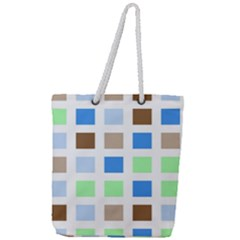Colorful Green Background Tile Pattern Full Print Rope Handle Tote (large)