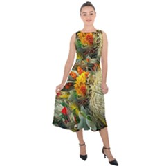 Flower Color Nature Plant Crafts Midi Tie Back Chiffon Dress
