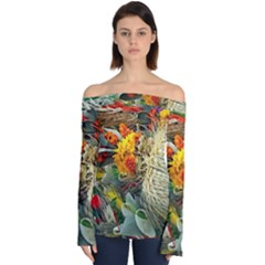 Flower Color Nature Plant Crafts Off Shoulder Long Sleeve Top