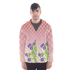 Morning Glory Argyle (blue Sky) Pattern Hooded Windbreaker (men) by emilyzragz