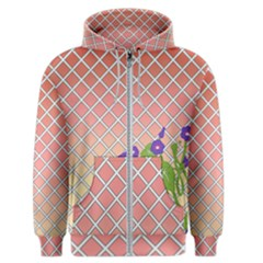 Morning Glory Argyle (blue Sky) Pattern Men s Zipper Hoodie by emilyzragz