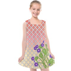 Morning Glory Argyle (blue Sky) Pattern Kids  Cross Back Dress by emilyzragz