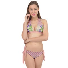 Morning Glory Argyle (blue Sky) Pattern Tie It Up Bikini Set by emilyzragz