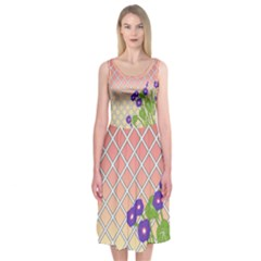 Morning Glory Argyle (sunset) Pattern Midi Sleeveless Dress by emilyzragz