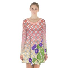 Morning Glory Argyle (sunset) Pattern Long Sleeve Velvet V Neck Dress by emilyzragz