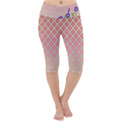 Morning Glory Argyle (sunset) Pattern Lightweight Velour Cropped Yoga Leggings by emilyzragz