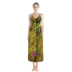 Dragonfly Dragonfly Wing Close Up Button Up Chiffon Maxi Dress