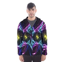 Abstract Art Color Design Lines Hooded Windbreaker (men)