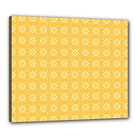 Pattern Background Texture Yellow Canvas 24  X 20  (stretched)