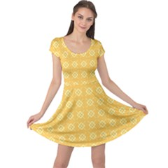 Pattern Background Texture Yellow Cap Sleeve Dress