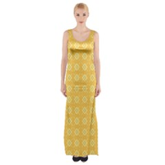 Pattern Background Texture Yellow Maxi Thigh Split Dress by Sapixe