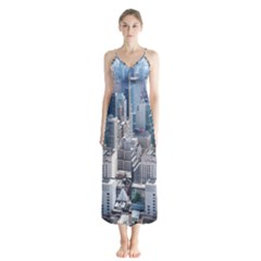 Manhattan New York City Button Up Chiffon Maxi Dress