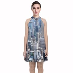 Manhattan New York City Velvet Halter Neckline Dress