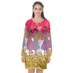 Girl Power Long Sleeve Chiffon Shift Dress