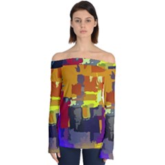 Abstract Vibrant Colour Off Shoulder Long Sleeve Top by Sapixe