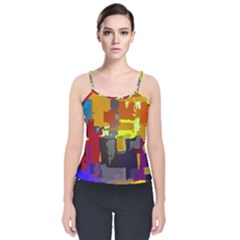 Abstract Vibrant Colour Velvet Spaghetti Strap Top by Sapixe