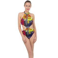 Abstract Vibrant Colour Halter Side Cut Swimsuit