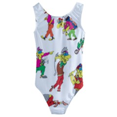Golfers Athletes The Form Of Kids  Cut Out Back One Piece Swimsuit by Sapixe