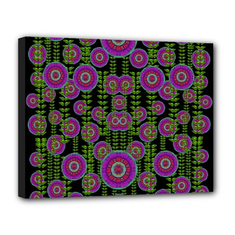 Black Lotus Night In Climbing Beautiful Leaves Canvas 14  X 11  (stretched) by pepitasart
