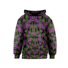 Black Lotus Night In Climbing Beautiful Leaves Kids  Pullover Hoodie by pepitasart