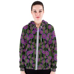 Black Lotus Night In Climbing Beautiful Leaves Women s Zipper Hoodie by pepitasart