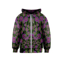 Black Lotus Night In Climbing Beautiful Leaves Kids  Zipper Hoodie by pepitasart