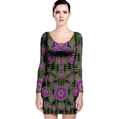 Black Lotus Night In Climbing Beautiful Leaves Long Sleeve Velvet Bodycon Dress by pepitasart