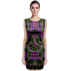 Black Lotus Night In Climbing Beautiful Leaves Classic Sleeveless Midi Dress by pepitasart