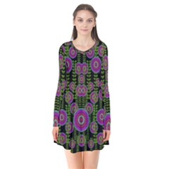 Black Lotus Night In Climbing Beautiful Leaves Long Sleeve V Neck Flare Dress by pepitasart