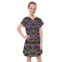Black Lotus Night In Climbing Beautiful Leaves Kids  Drop Waist Dress by pepitasart