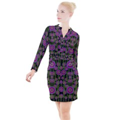 Black Lotus Night In Climbing Beautiful Leaves Button Long Sleeve Dress by pepitasart
