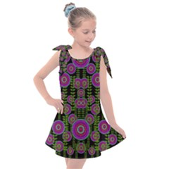 Black Lotus Night In Climbing Beautiful Leaves Kids  Tie Up Tunic Dress by pepitasart