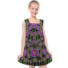 Black Lotus Night In Climbing Beautiful Leaves Kids  Cross Back Dress by pepitasart