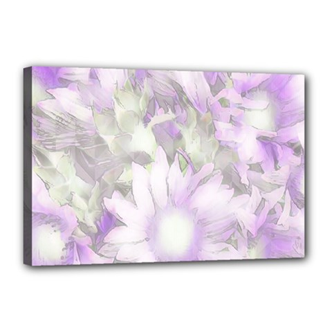 Romantic Pastel Floral,lilac Canvas 18  X 12  (stretched) by MoreColorsinLife