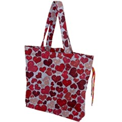 Sparkling Hearts, Red Drawstring Tote Bag by MoreColorsinLife