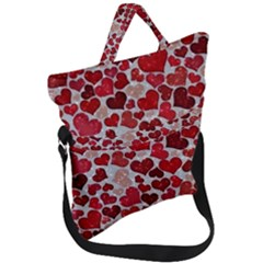 Sparkling Hearts, Red Fold Over Handle Tote Bag by MoreColorsinLife