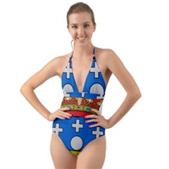 Coat Of Arms Of Galicia Halter Cut Out One Piece Swimsuit