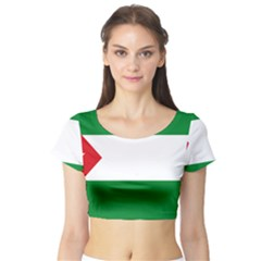 Flag Of Andalucista Youth Wing Of Andalusian Party Short Sleeve Crop Top