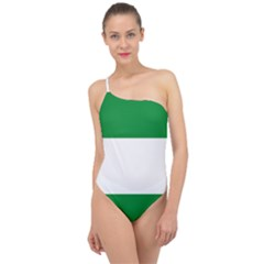 Flag Of Andalucista Youth Wing Of Andalusian Party Classic One Shoulder Swimsuit by abbeyz71
