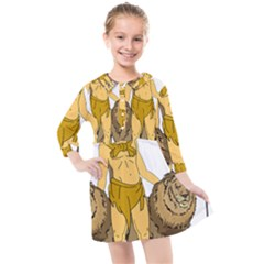 Emblem Of Andalusia Kids  Quarter Sleeve Shirt Dress by abbeyz71