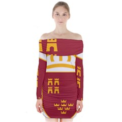 Stylized Coat Of Arms Of Murcia Long Sleeve Off Shoulder Dress