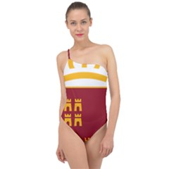 Stylized Coat Of Arms Of Murcia Classic One Shoulder Swimsuit