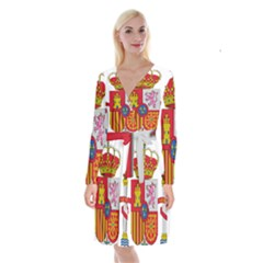 Coat Of Arms Of Spain Long Sleeve Velvet Front Wrap Dress by abbeyz71