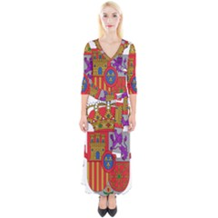 Coat Of Arms Of Spain Quarter Sleeve Wrap Maxi Dress