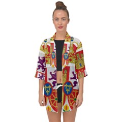 Coat Of Arms Of Spain Open Front Chiffon Kimono