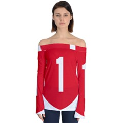 New Zealand State Highway 1 Off Shoulder Long Sleeve Top