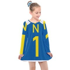 South Africa National Route N1 Marker Kids  Long Sleeve Dress